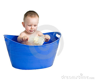Baby playing in a plastic tub