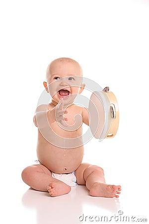 Baby playing tamborine port