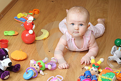 Baby playing with a toys