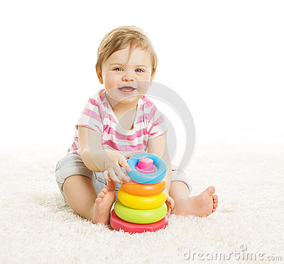 Free Baby Playing Toys, Child Play Pyramid Tower, Little Kid Education Royalty Free Stock Photos - 52429338