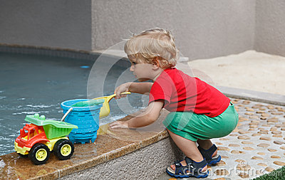 Baby playing with water
