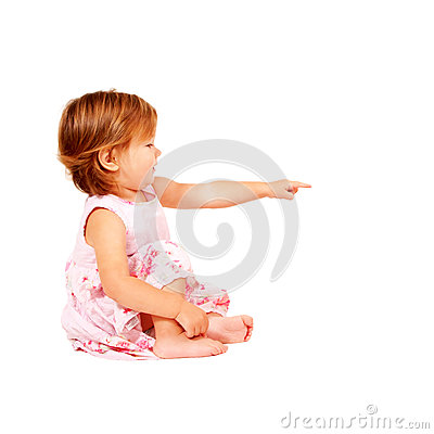 Baby pointing at something or clicking on somethin