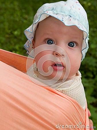 baby portrait in sling