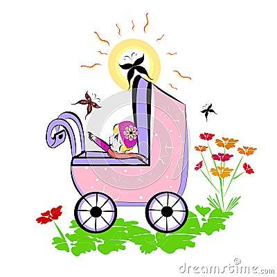 Baby in pram. Summer illustration