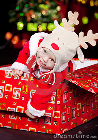 Baby in a present box