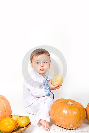Baby and pumpkin
