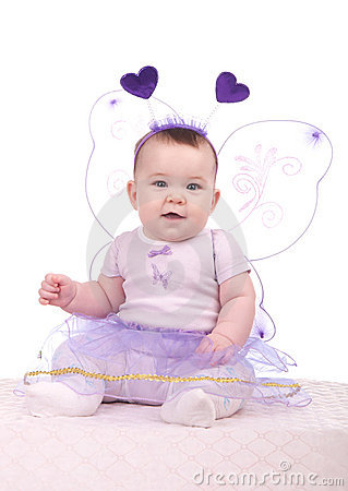Baby in a purple dress