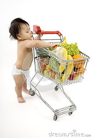 Free Baby Pushes A Shopping Cart Royalty Free Stock Photos - 5217168
