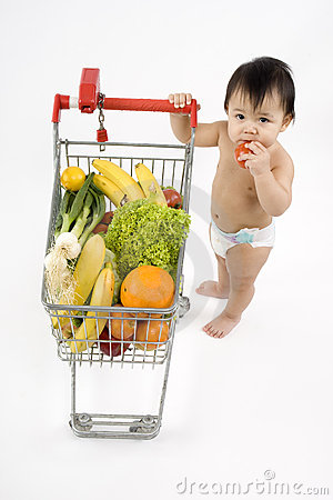 Free Baby Pushes A Shopping Cart Stock Photography - 5217232
