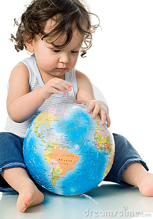 Baby with puzzle globe.