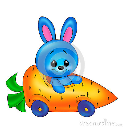 Baby rabbit and car carrots