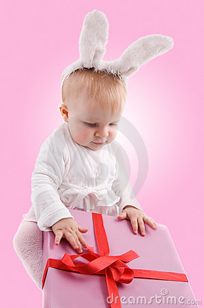 Baby in rabbit costume