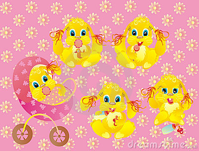 baby of rabbit on pink background. Vector