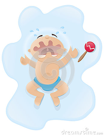 Crying baby illustration