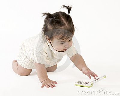 Baby reaching for cell phone