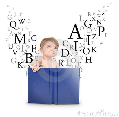 Baby Reading Book with Letters on White