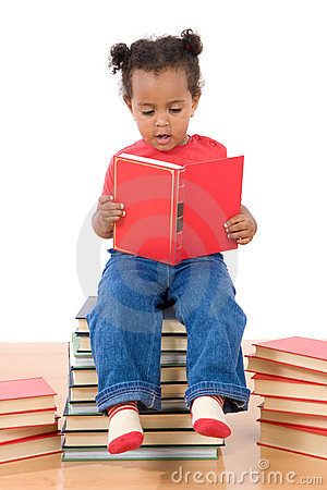 Free Baby Reading Sitting On A Pile Of Books Royalty Free Stock Images - 6814409