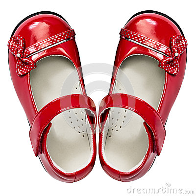Free Baby Red Shoes On White Royalty Free Stock Photos - 25568088