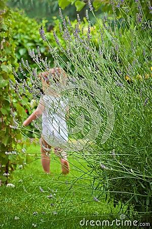 Baby running in the garden