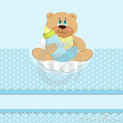 Baby s greetings card with bear cub and bottle