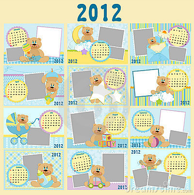 Baby s monthly calendar for 2012