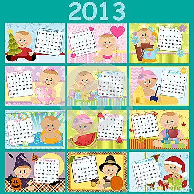 Baby s monthly calendar for 2013