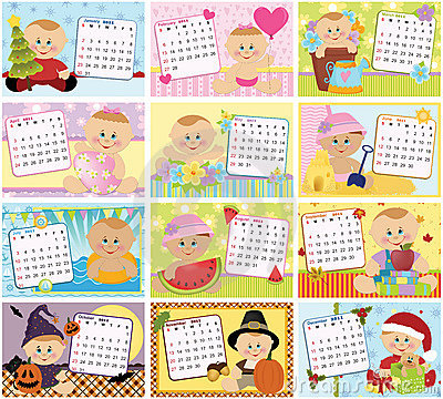 Free Baby S Monthly Calendar For 2011 Royalty Free Stock Photos - 15873388