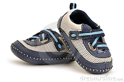 Baby s shoes made of the blue leather