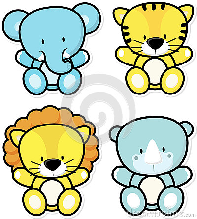 Baby safari animals Vector Illustration