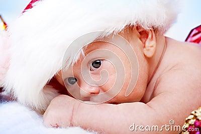 Baby in Santa hat