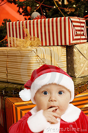 Baby santa with presents