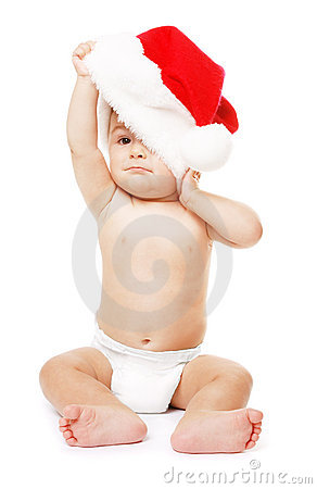 Baby-Santa with red Christmas hat