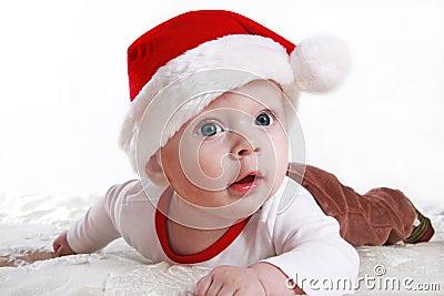 Baby in Santa s hat