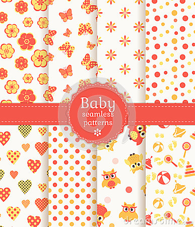 Free Baby Seamless Patterns In Pastel Colors. Vector Se Stock Photo - 38173630