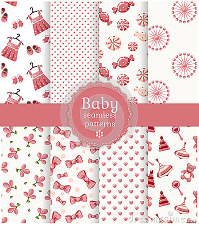 Free Baby Seamless Patterns. Vector Set. Stock Photography - 37275312
