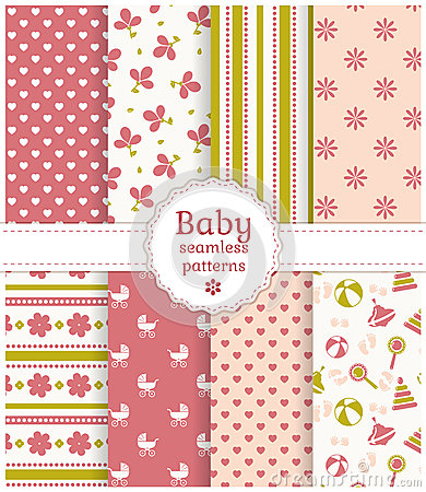 Free Baby Seamless Patterns. Vector Set. Royalty Free Stock Images - 38173649