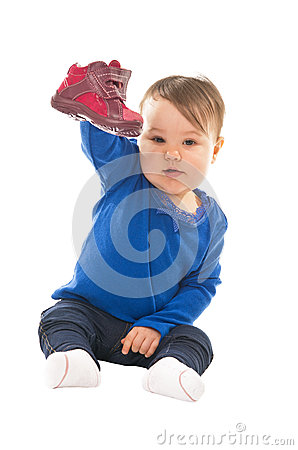 Baby with shoe