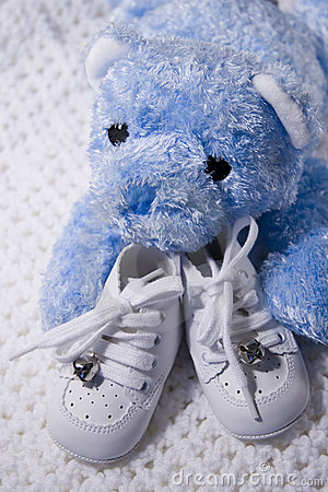 Free Baby Shoes And Teddy Stock Photography - 221082