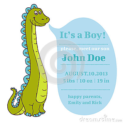 Baby Shower and Arrival Card - Dino Theme