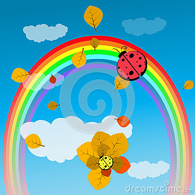 Baby Shower or Arrival God Ladybird on a rainbow Vector Illustration