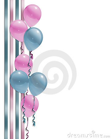 Free Baby Shower Balloons Border  Royalty Free Stock Images - 13015609