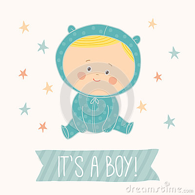 Baby shower card for baby boy. Cute baby boy sitting. Blond toddler boy. Vector Illustration
