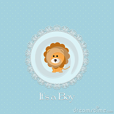 Baby shower card for baby boy, with lion and lace frame