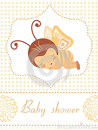 Baby shower card with baby-butterflygirl sleeping