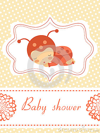 Baby shower card with baby-ladybug girl sleeping