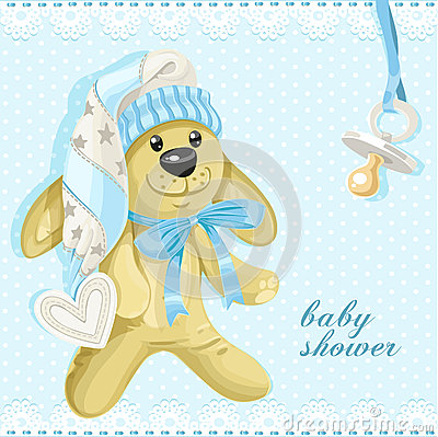 Baby shower card with blue soft rabbit