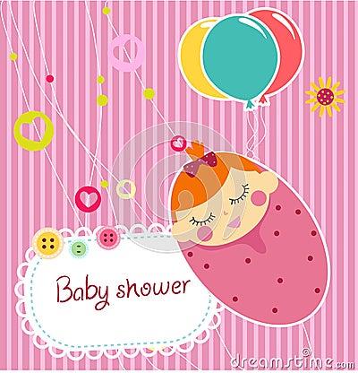 baby shower card cartoon art