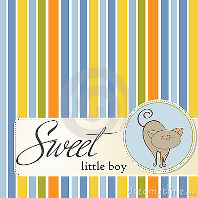 Baby shower card with cat