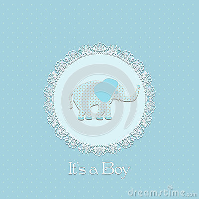Free Baby Shower Card For Baby Boy, With Elephant And Lace Frame Royalty Free Stock Photos - 30998258
