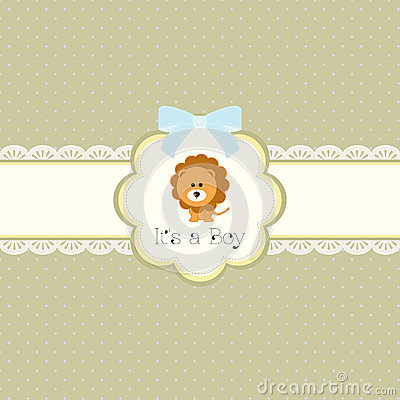 Free Baby Shower Card For Baby Boy, With Lion Stock Photos - 29683953